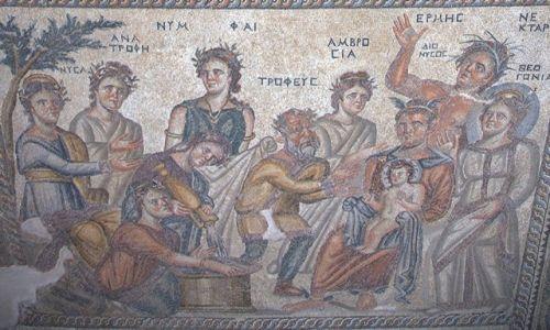 Zdjecie CYPR / Pafos, Park archeologiczny / Posadzka w domu Aiona, mozaiki / Kąpiel Dionizosa