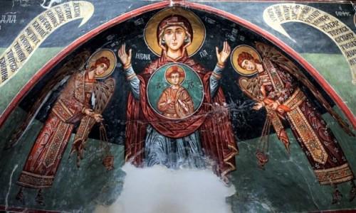 Zdjęcie CYPR / Góry Troodos / Pedoulas  / Kościół Archangelos Michael freski w ołtarzu, XV w