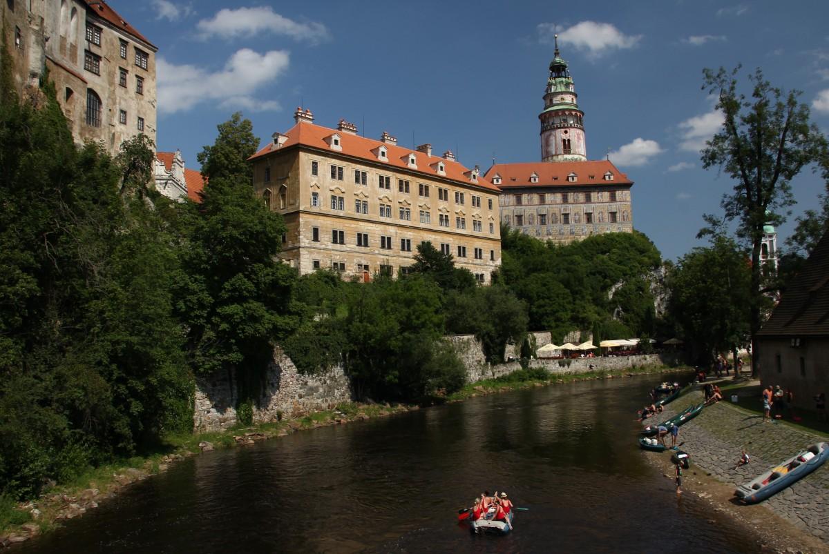 Zdjęcia: Czeski Krumlov, Południowe Czechy, Spływ z widokiem na zamek, CZECHY