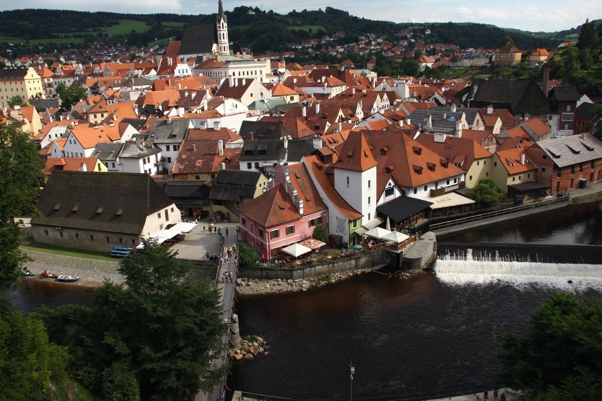 Zdjęcia: Czeski Krumlov, Południowe Czechy, Panorama z zamku, CZECHY