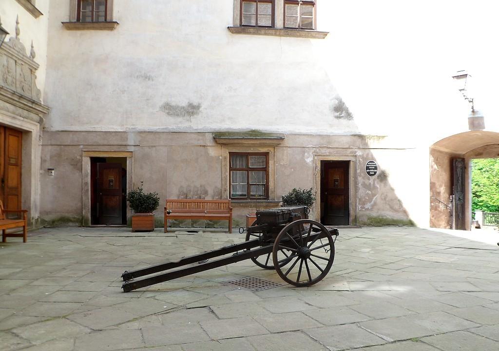 Zdjęcia: Zamek Nachod, Nachod, Broń na dziedzińcu zamkowym., CZECHY