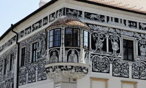 Zdjęcie CZECHY / Czechy / Trebic / Trebic, malowana kamienica