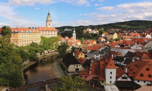 Zdjecie CZECHY /  kraj południowoczeski / Ceski Krumlov / widok z zamku