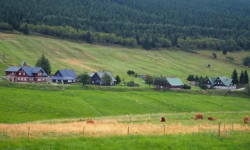Zdjecie CZECHY / Karkonosze / na południe od Przełęczy Okraj / zachmurzona Mala Upa...