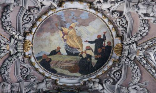 Zdjęcie CZECHY / Skalne Miasta / Broumov / Sklepienie klasztoru w Brumowie, detal II
