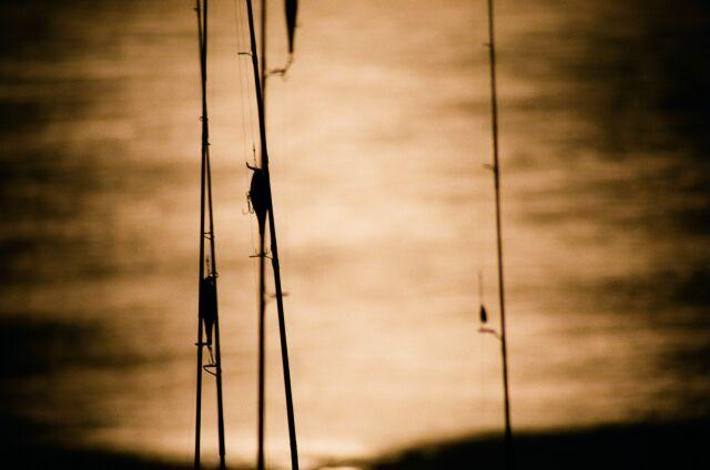 Zdjęcia: Jez. Nassera, Śpiące wędki nad Nilem w świetle księżyca, EGIPT