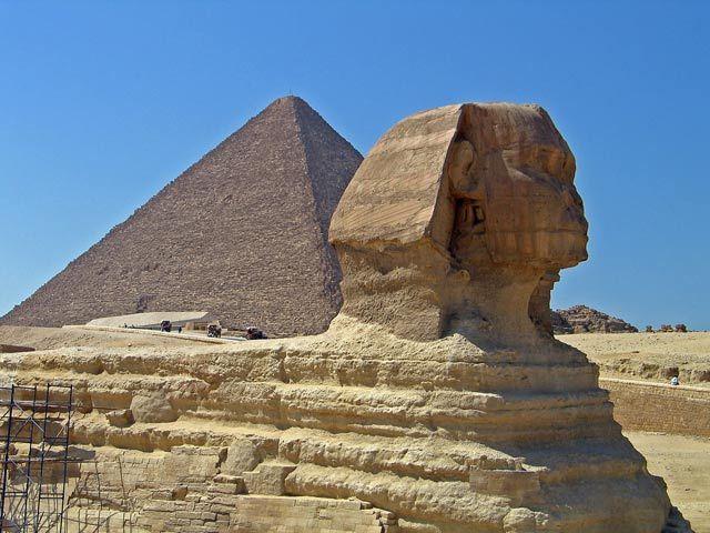 Zdjęcia: Kair-Gizy, Sfinks i piramida, EGIPT