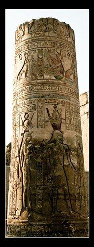 Zdjęcia: Kom-Ombo, Sobek's Kom-Ombo Temple column, EGIPT