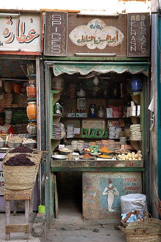 Zdjęcia: ulica targowa, Asuan, sklepik z przyprawami, EGIPT