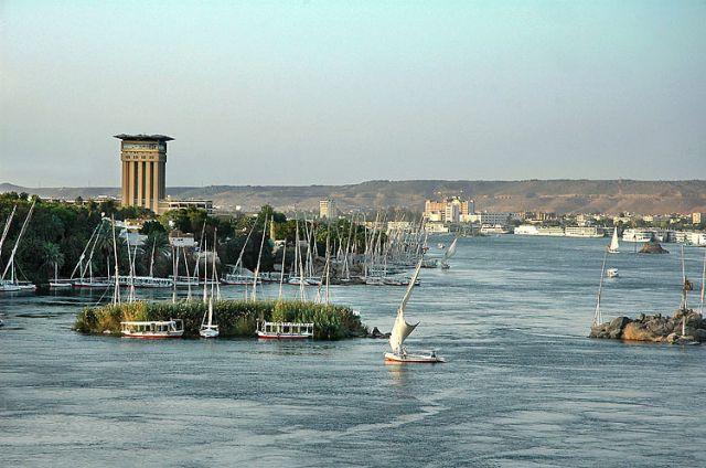 Zdj�cia: Nil, Asuan, rozlewisko Nilu w Asuanie, EGIPT
