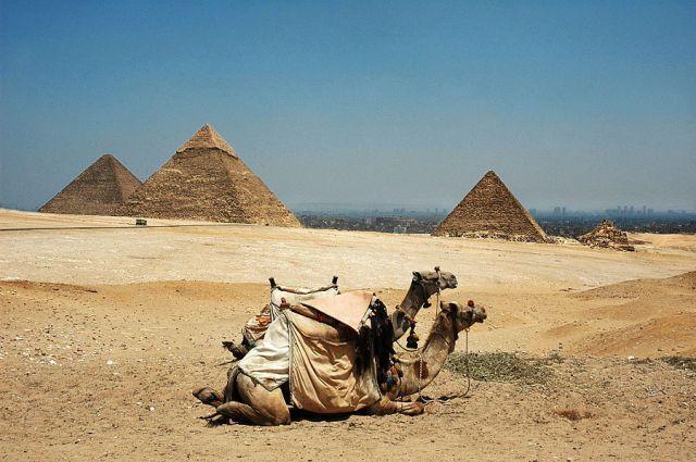 Zdjęcia: Giza, Kairu, panorama na Piramidy w Gizie, w tle Kair, EGIPT