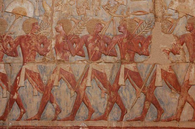 Zdj�cia: Luksor, g�rny Egipt, detal - w �wiatyni Hatszepsut, EGIPT