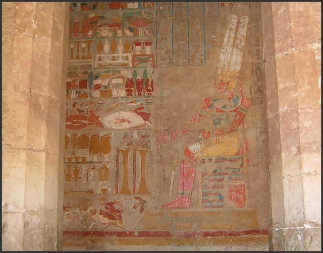 Zdjęcia: Deir el Bahari, Egipt - część wschodnia, Światynia Hatszepsut - malowidła, EGIPT