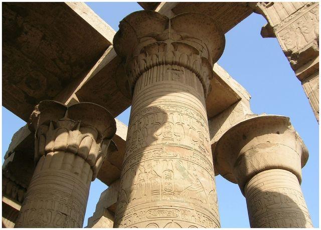 Zdjęcia: Kom Ombo , Egipt wschodni, Kolumny świątyni, EGIPT