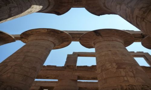 Zdjecie EGIPT / - / Karnak / Kolumny w sali królewskiej