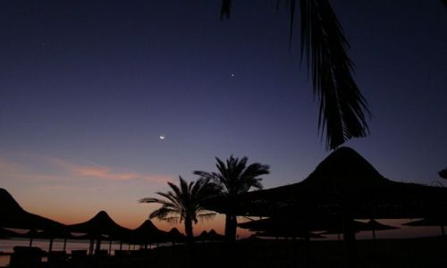 EGIPT / Marsa el Alam / Abu Dabaab / Księżyc i Wenus przed wschodem