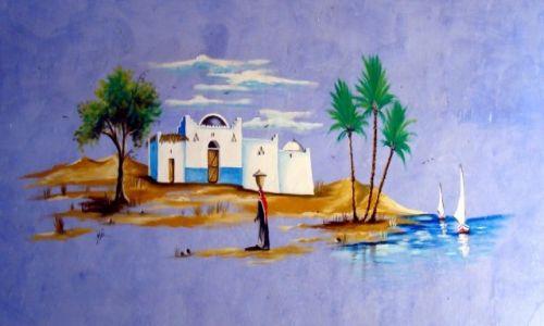 Zdjecie EGIPT / Asuan / I katarakta na Nilu / Nubijskie malunki