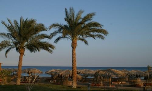 EGIPT / wybrzeże morza Czerwonego / Hurghada / plaża o zachodzie słońca