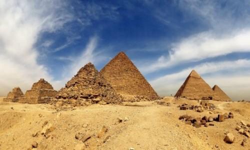 Zdjecie EGIPT / Giza / Najładniejszy widok na piramidy / Pocztówka - kolosy starożytności