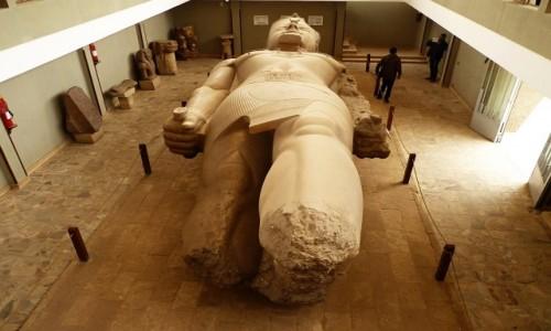 Zdjecie EGIPT / okolice Kairu / Memfis / Muzeum na Wolnym Powietrzu - posąg Ramzesa II