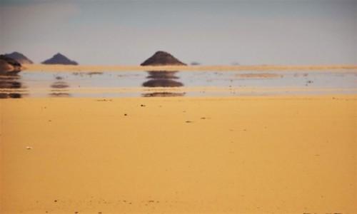 Zdjęcie EGIPT / Asuan / pustynia po drodze z Abu Simbel do Asuanu / Fatamorgana