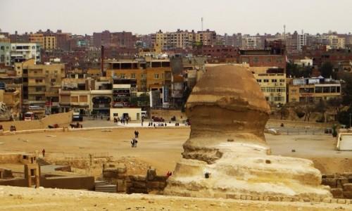 EGIPT / Nekropolia Memficka / Giza / Giza zza pleców Sfinksa
