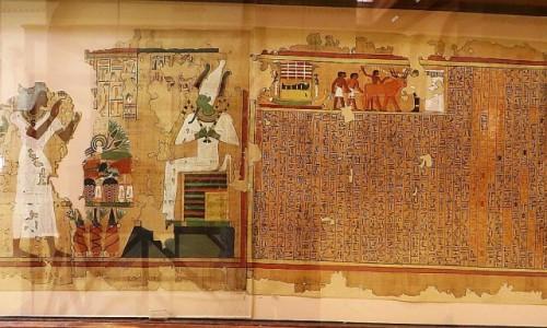 Zdjecie EGIPT / Kair / Kair - Muzeum Egipskie / fragment Księgi Zmarych z grobowca Yuyi i Thui.