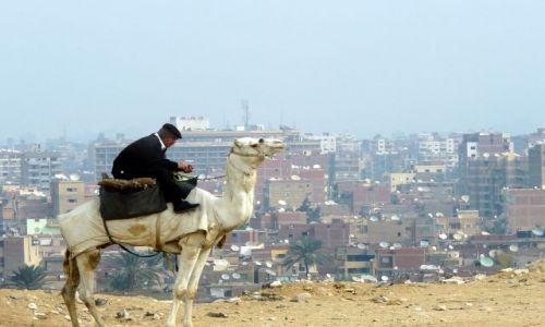 Zdjecie EGIPT / Afryka / Kair / Policjant na wielbłądzie