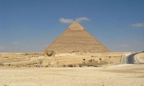 Zdjecie EGIPT / brak / Giza / Sfinks i piramida Chefrena