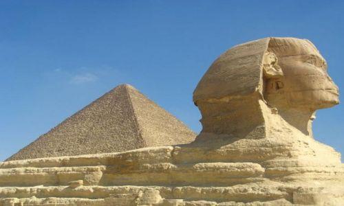 Zdjecie EGIPT / brak / Giza / Sfinks i piramida Cheopsa