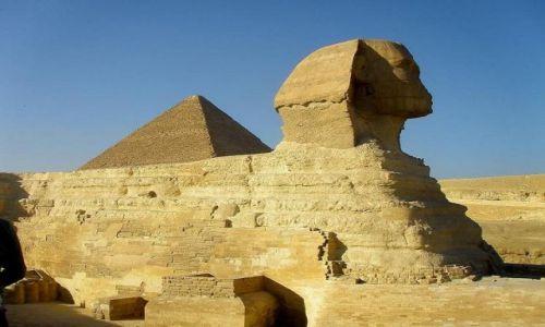 Zdjęcie EGIPT / Giza / Giza / Sfinks i piramida