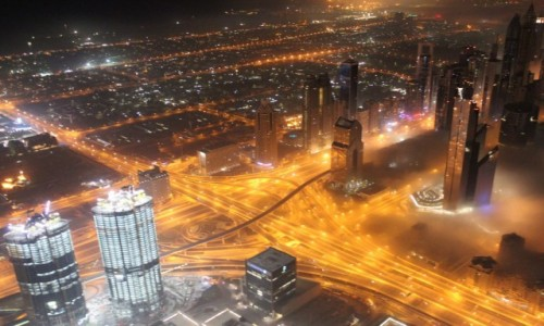 Zdjecie ZJEDNOCZONE EMIRATY ARABSKIE / Dubaj / Wieża Burj Khalifa  / Dubaj nocą