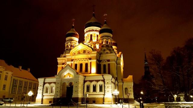 Zdjęcia: Tallinn, Harjumaa, Tallinn nocą - sobór, ESTONIA
