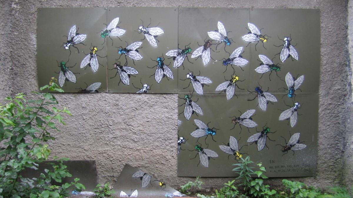 Zdjęcia: Tallin, Harjumaa, Instalacja graffiti z muchami - więzienie Patarei, ESTONIA