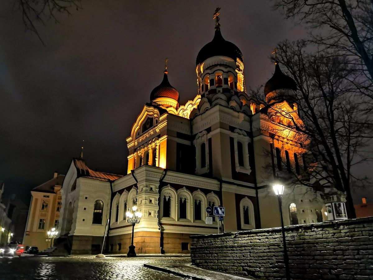 Zdjęcia: Tallin, Harjumaa, Sobór nocą, ESTONIA