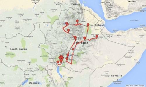 ETIOPIA / PÓŁNOC - POŁUDNIE / DOLINA OMO. LALIBELLA / TRASA PRZEJAZDU PO ETIOPII
