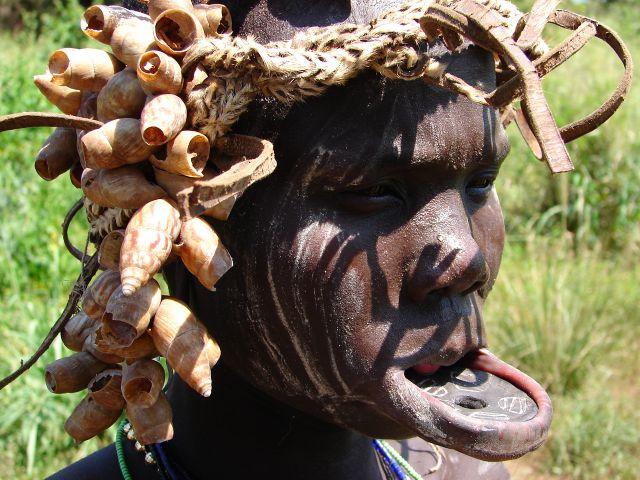 Zdj�cia: dolina rzeki Omo , Etiopia Po�udniowa, Twarze Etiopii  - plemie Mursi , ETIOPIA