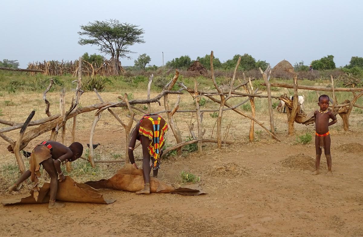 Zdjęcia: osada Hamerów, Dolina Omo, Sprzątanie obejścia, ETIOPIA