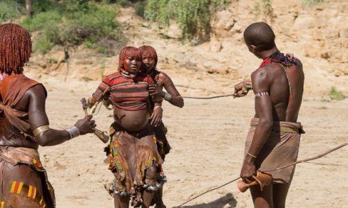 Zdjęcie ETIOPIA / okolice Turmi / wioska Hamerów / Bij i bierz