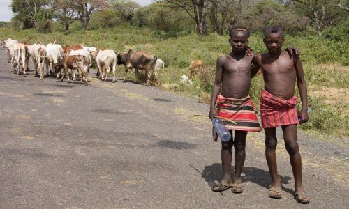 Zdjęcie ETIOPIA / Dolina Omo / droga / Pasterze