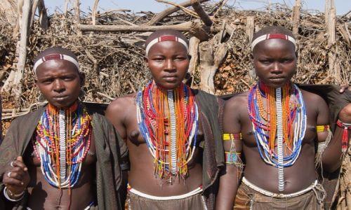 Zdjęcie ETIOPIA / Dolina Omo / wioska / Dziewczyny z plemienia Arbore