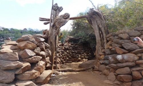 Zdjęcie ETIOPIA / DOLINA OMO / Meczeke / Brama do wioski Meczeke