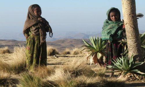 Zdjęcie ETIOPIA / Góry Siemen / Siemen Mountains / Dzieci przy obozie