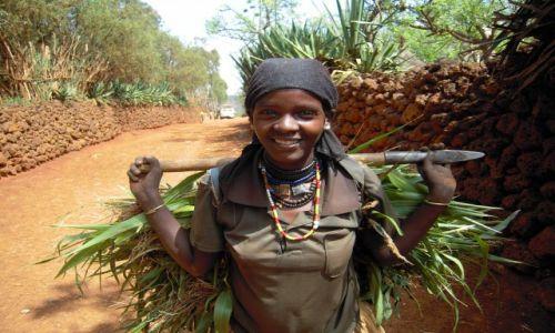 Zdjecie ETIOPIA / pd. Etiopia, Karat-Konso / w drodze do wioski ludu Konso / Kobieta z ludu Konso