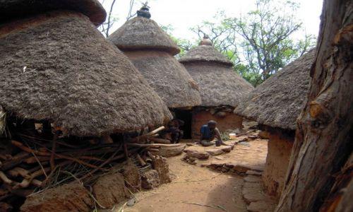 Zdjecie ETIOPIA / pd. Etiopia, Karat-Konso / Wioska plemienia Konso / Typowa zabudowa