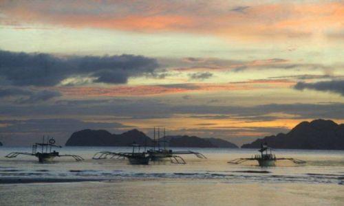 Zdjecie FILIPINY / Palawan / El Nido / Bangka o zachod