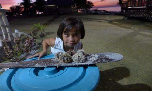 Zdjecie FILIPINY / Bohol / Pamilacan  / Dziewczynka z jeżowcami - Pamilacan -Filipiny