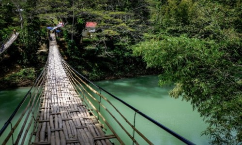 Zdjęcie FILIPINY / Bohol / Sevilla / Bamboo Hanging Bridge