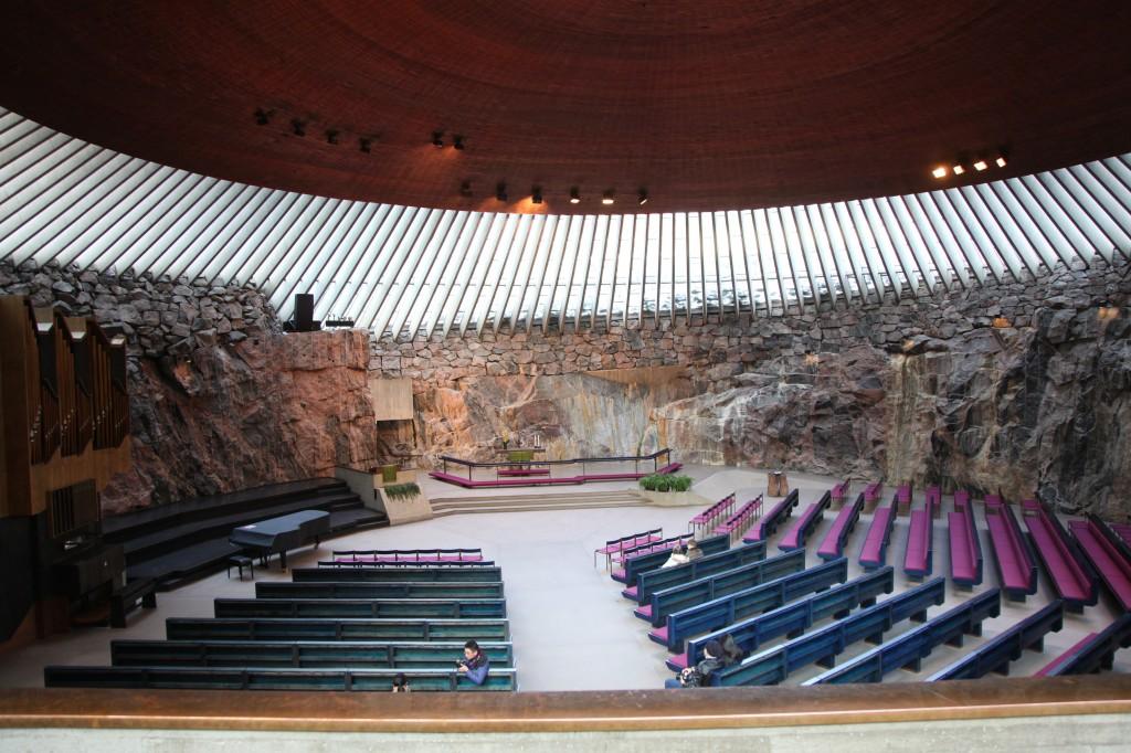 Zdjęcia: Helsinki, Uusimaa, Temppeliaukio, Kościół wykuty w skale, FINLANDIA