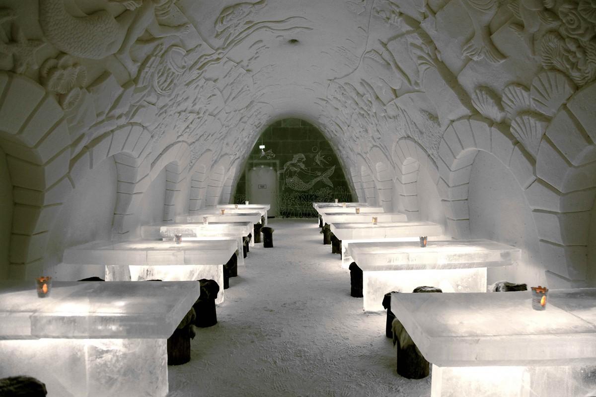 Zdjęcia: Kemi , Laponia, Restauracja w Śnieżnym Pałacu, FINLANDIA